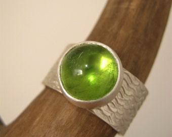 Peridot RING- Big Peridot Cabochon on Wide wavy Pattern Band - Ready to Ship - Sterling Silver