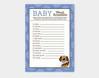Handsome Puppy Dog Blue and Brown Word Scramble Game / Boy Baby Shower Game / Word Activity INSTANT DOWNLOAD PRINTABLE bs-106