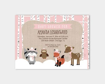 Winter Woodland Pink Girl Baby Shower Invitations | Forest Animals Birch Trees  Printable Baby Shower Invitation bs-068