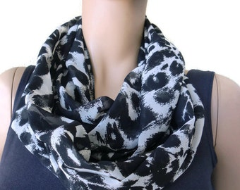 Black and off white animal print chiffon infinity scarf ,  chiffon circle loop scarf-Instant gratification