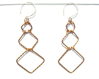 Square Tiered Earrings in Twist Copper, Round Hooks, Made to Order, Christmas Gift under 20, Bare Copper, Lightweight, Fashion Accessory