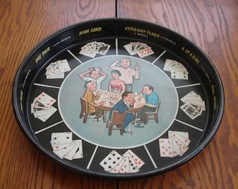 Tole Metal Tray Poker Barware  Drink Tray Vintage