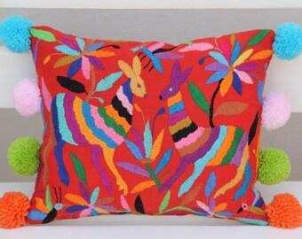 RED Folk Art Pillow Sham with Pom Poms-Otomi Embroidery Ready to ship.