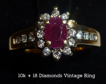 18 Tiny Diamonds, 10k Gold Ring with Red Stone. Vintage Cocktail Ring. Maker's Mark and Hallmarked. Size 8. Valentine's, Birthday, Promise.