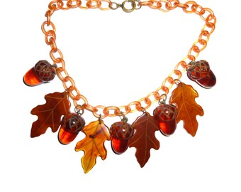 Vintage Bakelite Necklace. Acorns and Leaves. All Original on Celluloid Chain. Carved Bakelite Pieces Amazing. Circa 1940s.