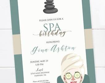 Spa Birthday Invitation, Spa Day, Spa Party Invitation, Spa Bridal Shower, Baby Shower, Pamper me party, DIGITAL PRINTABLE FILE
