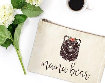 Canvas Makeup Bag - Make Up Pouch - Canvas pouch - Cosmetic pouch - Cosmetic Bag - Makeup Organizer - Mama Bear - Boho Canvas Bag