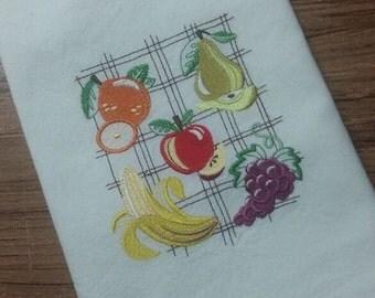 Fruit collage  White Cotton Kitchen Tea Towel
