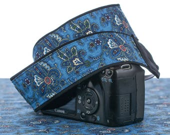 Blue Paisley Camera Strap, Butterfly, dSLR, Pocket, Camera Neck Strap, Canon camera strap, Nikon camera strap, 091