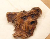 Vintage Dog Pin, Dog Brooch, Syroco Wood, Terrier Pin,  ANIMAL CHARITY DONATION