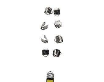 50pcs.  6mm  (1/4 inch) Gunmetal Ribbon Clamp End Crimps - Artisan Series