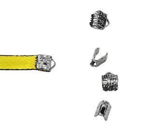 16 pieces  6mm (1/4 inch) Gunmetal Ribbon Clamp End Crimps - Artisan Series