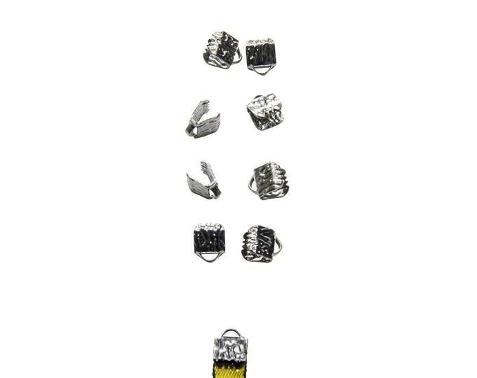 50 pieces  6mm  (1/4 inch) Gunmetal Ribbon Clamp End Crimps - Artisan Series