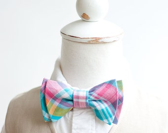 Bow Tie, Boys Bow Tie, Bow Ties, Baby Bow Ties, Bowtie, Bowties, Ring Bearer, Bow ties For Boys, Plaid Necktie - Aqua, Pink, Yellow Plaid