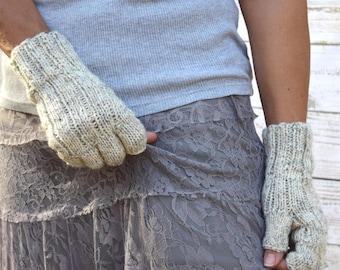 Knit fingerless gloves wheat womens gloves gift for her birthday Chrismas warm gloves womens accessories gift under 40