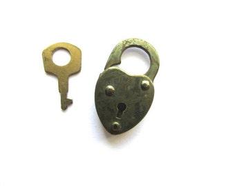 Heart Padlock Lock Key Shield Brass Vintage Charm Assemblage Jewelry Supply Steampunk