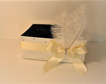 Wedding  Program Box Amenities Box Bathroom Accessories Box  Feather - Customize your color