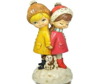 1960's Christmas Music Box Figurines plays I'm Dreaming of a White Christmas Vintage Christmas Music Box