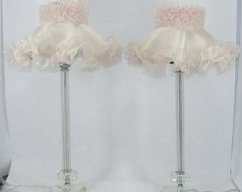 Vintage Candlestick Lamps with Pink Shades Vintage Pair of Tall Glass Lamps