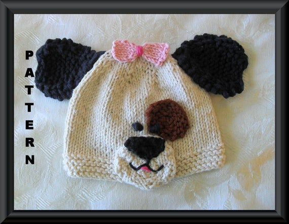 Puppy Dog Hat Knitting Pattern : Knitted Hat Pattern Baby Hat Pattern Newborn Hat Pattern Puppy