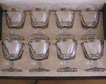 Vintage Hazel Ware Gothic Sherbets Set of 8 in Original Box, Platinum Gothic Tableware by Hazelware, Silver Band Crystal Glassware Stems