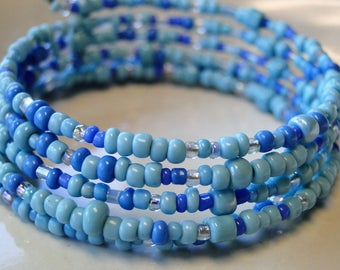 Baby blue beaded coil wrap bracelet, memory wire