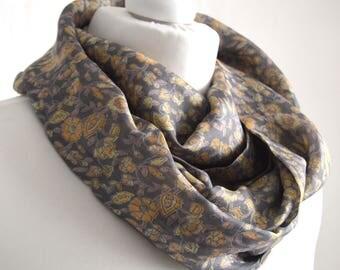 Grey Yellow Floral Recycled Silk Sari Infinity Scarf  Recycled Silk Sari Eternity Scarf  Handmade Indian Silk Scarf  Sari Scarf- CMCISA0312