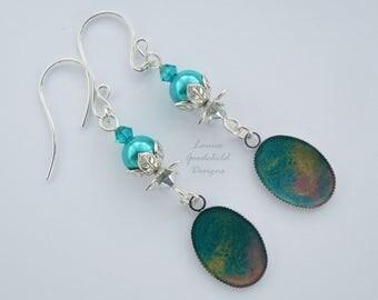 Renoir earrings, turquoise and silver earrings, aqua pearl earrings, hand painted, teal earrings, silver flower earrings, nature inspired
