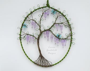Wisteria suncatcher, wisteria hanging ornament, lilac tree, wire suncatcher, ooak decor, butterfly suncatcher, purple flowers, lilac flowers