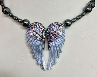 Silver Rhinestone Hand Beaded Angel Wing Magnetic Hematite Memmory Wire Necklace