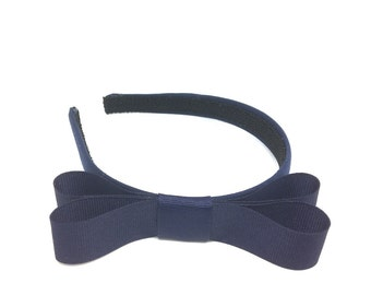 Navy Blue Bow Headband - 3/4 inch Headband Navy Blue w/ Bow, Girl Headband, Adult Headband  - Blair Waldorf Style Simple Big Bow Headband