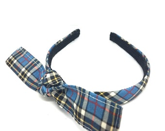 Headband with Tied Knot Bow - Thompson Plaid Headband with Big Bow - Bow Headband for Adults and Girls, Blair Waldorf Inspired
