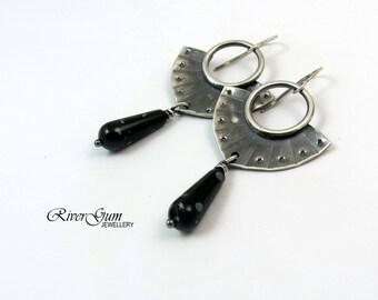 Argentium Silver Earrings, Snowflake Obsidian Hoop Earrings, Statement Earrings, Oxidized Silver Earrings, Large Silver Earrings