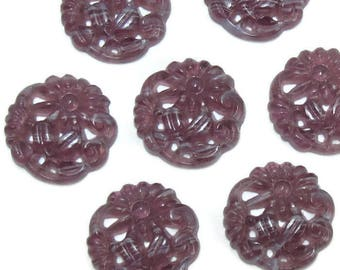 Vintage Glass Cabochon 4 pcs 15mm Purple Etched Molded Floral S-74