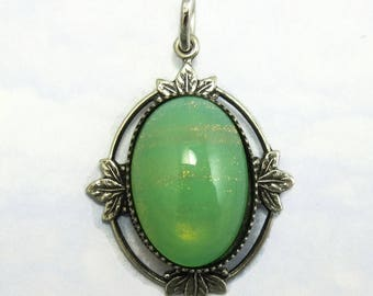 Vintage Glass Pendant Mint Green Fire Opal Cabochon in Silver Setting D-42
