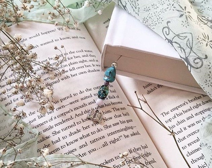 Purple and Turquoise Beaded Bookmark/ Book Thong. Collaboration with @lisa_lostinlit.