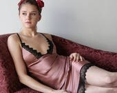 silk bias camisole with embroidered lace trim - ALICE charmeuse with spandex bridal range - made to order