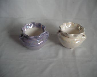"2"" Ceramic African Violet Pot / Planter / Set of 2 / Mother of Pearl"