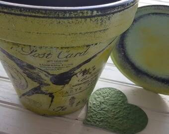 Painted Flower Pot - Moss Green - Rustic Planter - Vintage Room Decor - Rustic Room Decor