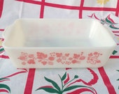 Vintage Pyrex pink Gooseberry 503 fridgie refrigerator fridge dish.  No lid.  Cooking. Baking. Vintage kitchen. Chef. Cook.
