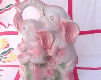 SPRING SALE Vintage pink elephants figurine statue.