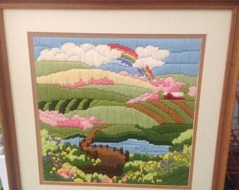 "SPRING SALE Vintage handmade rainbow needlework crewel 17""x17"" Vintage Handmade crewel Needlework Embroidery Spring Summer"