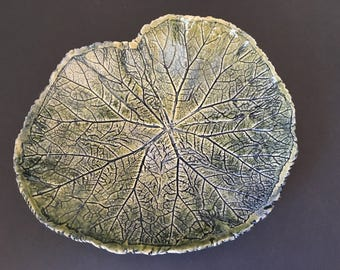 Begonia leaf serving plate with hand thrown foot green