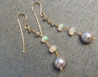 Earrings 18 kt gold, akoya pearls, ethiopian opals, rough diamonds: IMPORTANT, French vat is included,20% off for US and canadian buyers