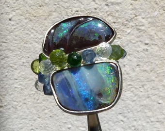 silver ring with 2 boulder opals, IMPORTANT,French vat is included, 20% off for US and canadian buyers