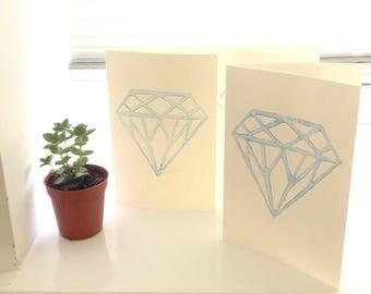 April Birthstone Card Diamond Lino Print Diamond Card Wedding Card, Individually Printed Lino Cards Blue Diamond Sapphire Engagements Cards