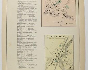 Antique New Salem NY Map Chapinville 1874 Vintage Map Farmington New York, Ontario County NY, Genealogy Gift for Her, Finger Lakes NY Map