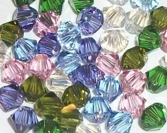 Swarovski crystal beads - 6 Different colors -- Swarovski BICONE 5328 crystal beads Spring Hues Mix -- Available in 4mm, 6mm