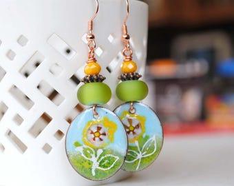 Flower Earrings, Garden Earrings, Blue Earrings, Artisan Enamel Earrings, Nature Inspired Jewelry, Daisy Earrings,