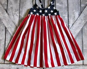 Girls Fourth of July Dress- Flag Dress- Baby Girl Dress- Toddler Dress- 4th of July- 3 6 9 12 18 Months- 2 3 4 5 6 7 8 9 10 11 12 Years